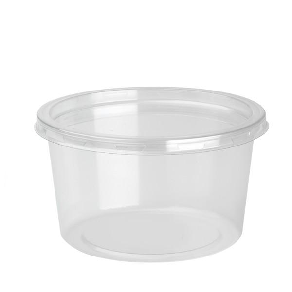 pot rond a dessert plastique 55 cl avec couvercle