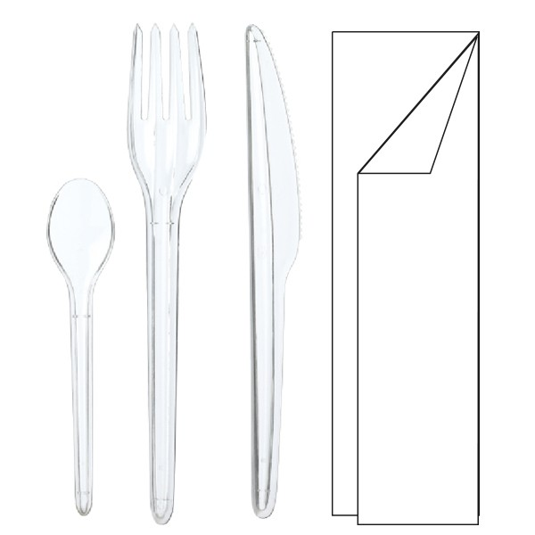 kit de couverts jetables plastique transparent 4 en 1