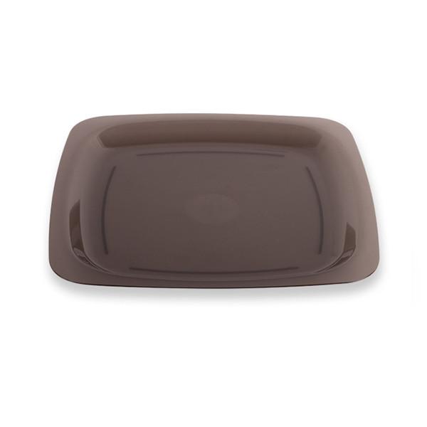 assiette plastique jetable gris fumé 18 cm