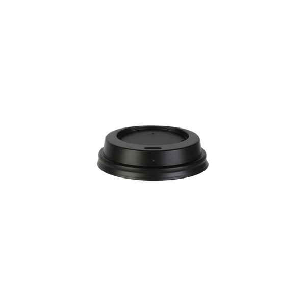 Couvercle Noir avec trou pour gobelet carton 30 cl