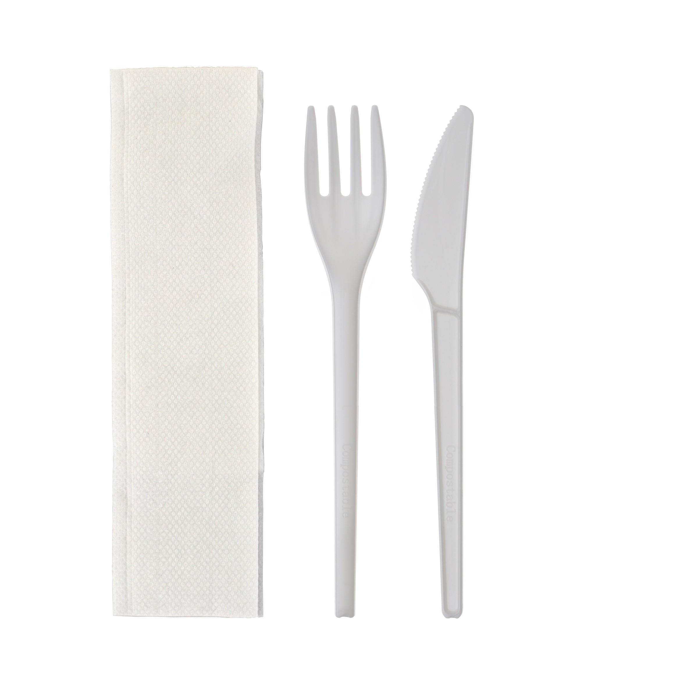 Kit couverts couteau fourchette serviette blanc vente à emporter et traiteurs