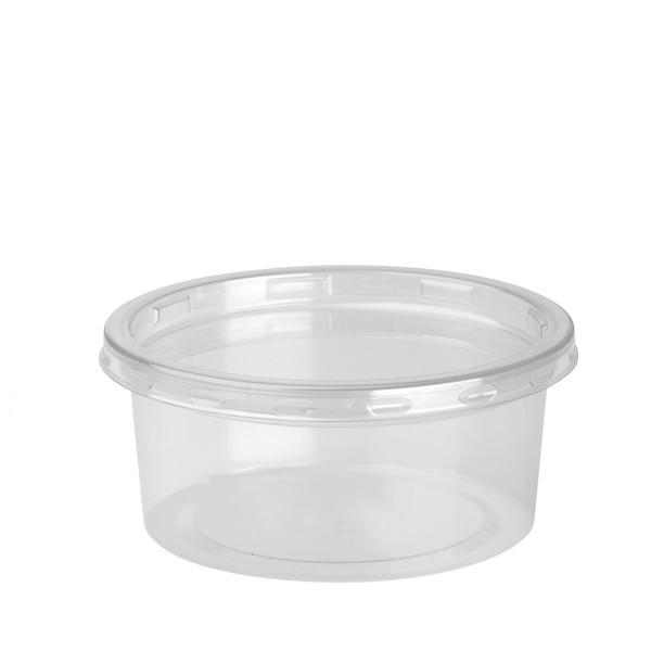 Pot récipient plastique transparent DELI  LITE 21,7 cl et son couvercle