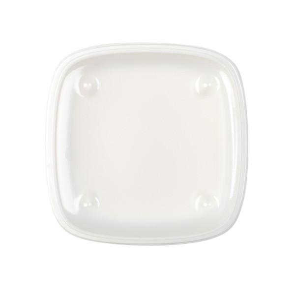 Assiette carrée blanche jetable avec couvercle pour plateau repas